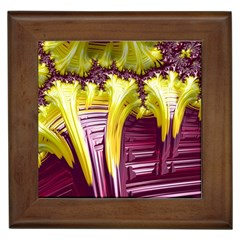 Yellow Magenta Abstract Fractal Framed Tiles