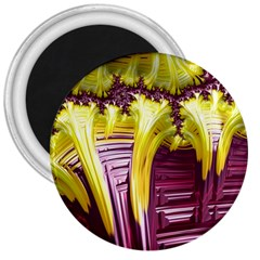 Yellow Magenta Abstract Fractal 3  Magnets