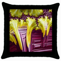 Yellow Magenta Abstract Fractal Throw Pillow Case (black)