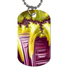 Yellow Magenta Abstract Fractal Dog Tag (one Side)