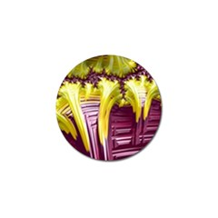 Yellow Magenta Abstract Fractal Golf Ball Marker (4 Pack)