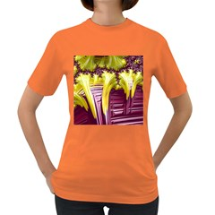 Yellow Magenta Abstract Fractal Women s Dark T Shirt
