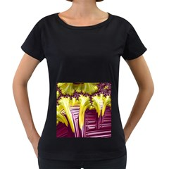 Yellow Magenta Abstract Fractal Women s Loose Fit T Shirt (black)