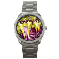 Yellow Magenta Abstract Fractal Sport Metal Watch
