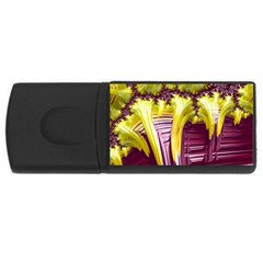 Yellow Magenta Abstract Fractal Rectangular Usb Flash Drive