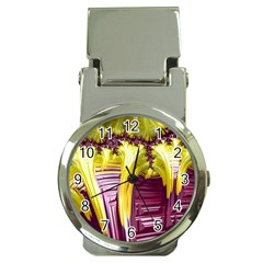 Yellow Magenta Abstract Fractal Money Clip Watches