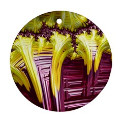 Yellow Magenta Abstract Fractal Round Ornament (two Sides)