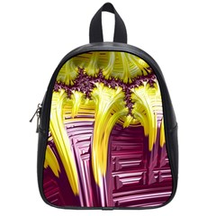 Yellow Magenta Abstract Fractal School Bag (small)