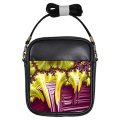 Yellow Magenta Abstract Fractal Girls Sling Bags