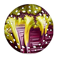 Yellow Magenta Abstract Fractal Ornament (round Filigree)