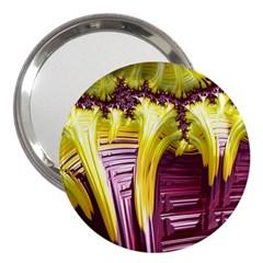 Yellow Magenta Abstract Fractal 3  Handbag Mirrors