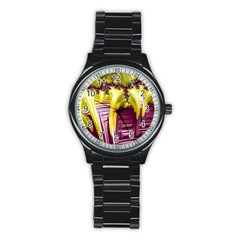 Yellow Magenta Abstract Fractal Stainless Steel Round Watch