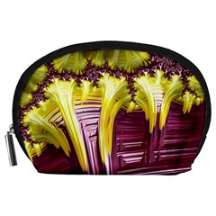 Yellow Magenta Abstract Fractal Accessory Pouches (large)