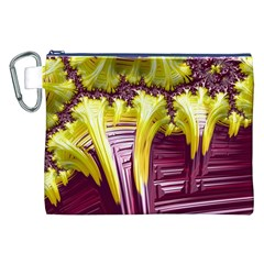 Yellow Magenta Abstract Fractal Canvas Cosmetic Bag (xxl)
