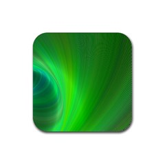 Green Background Abstract Color Rubber Coaster (square)