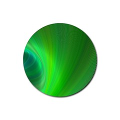 Green Background Abstract Color Rubber Round Coaster (4 Pack)