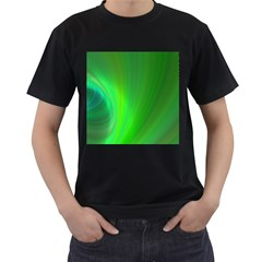 Green Background Abstract Color Men s T Shirt (black) (two Sided)