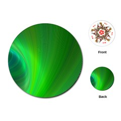 Green Background Abstract Color Playing Cards (round)