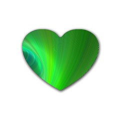 Green Background Abstract Color Rubber Coaster (heart)