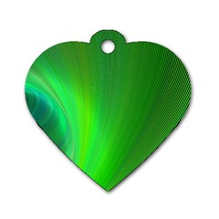 Green Background Abstract Color Dog Tag Heart (two Sides)