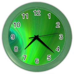 Green Background Abstract Color Color Wall Clocks