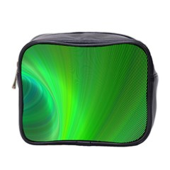 Green Background Abstract Color Mini Toiletries Bag 2 Side