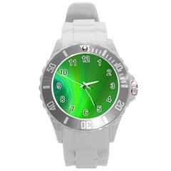 Green Background Abstract Color Round Plastic Sport Watch (l)