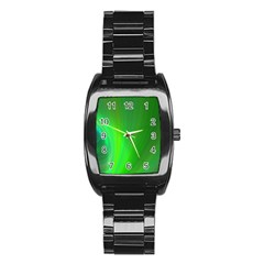 Green Background Abstract Color Stainless Steel Barrel Watch