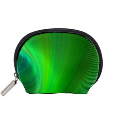 Green Background Abstract Color Accessory Pouches (small)