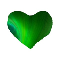 Green Background Abstract Color Standard 16  Premium Flano Heart Shape Cushions