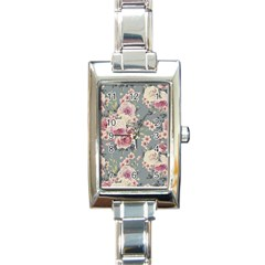 Pink Flower Seamless Design Floral Rectangle Italian Charm Watch