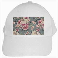 Pink Flower Seamless Design Floral White Cap