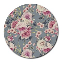 Pink Flower Seamless Design Floral Round Mousepads