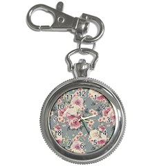 Pink Flower Seamless Design Floral Key Chain Watches