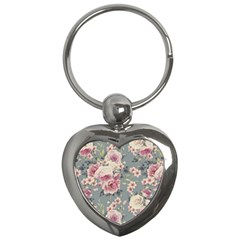 Pink Flower Seamless Design Floral Key Chains (heart)
