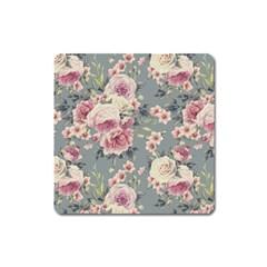 Pink Flower Seamless Design Floral Square Magnet