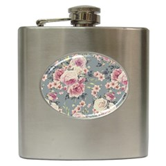 Pink Flower Seamless Design Floral Hip Flask (6 Oz)