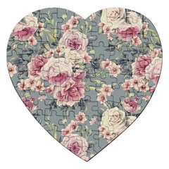 Pink Flower Seamless Design Floral Jigsaw Puzzle (heart)