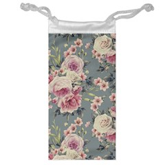Pink Flower Seamless Design Floral Jewelry Bag