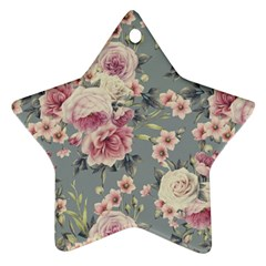 Pink Flower Seamless Design Floral Star Ornament (two Sides)