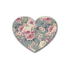 Pink Flower Seamless Design Floral Heart Coaster (4 Pack)