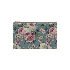 Pink Flower Seamless Design Floral Cosmetic Bag (small)