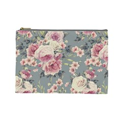 Pink Flower Seamless Design Floral Cosmetic Bag (large)