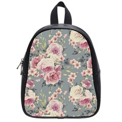 Pink Flower Seamless Design Floral School Bag (small)