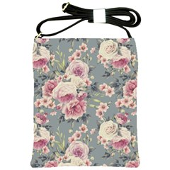 Pink Flower Seamless Design Floral Shoulder Sling Bags