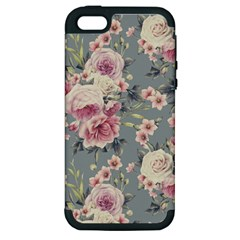 Pink Flower Seamless Design Floral Apple Iphone 5 Hardshell Case (pc+silicone)
