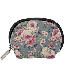 Pink Flower Seamless Design Floral Accessory Pouches (small)