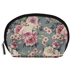 Pink Flower Seamless Design Floral Accessory Pouches (large)