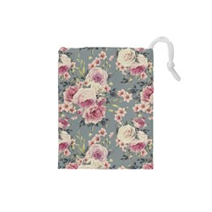 Pink Flower Seamless Design Floral Drawstring Pouches (small)