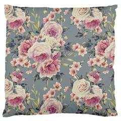 Pink Flower Seamless Design Floral Large Flano Cushion Case (one Side)